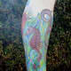 A Colorful Leg Sleeve With a Seahorse