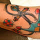 Old school styled anchor and flowers