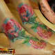 Ankle and foot roses tattoo