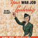 Girl Scout leader beckoning. In background, photo of hundreds of girl scouts Date between 1941 and 1945 Source USGov Author w:United States Office of War Information