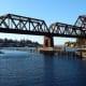 Salmon Bay railway drawbridge over the Lake Washington Ship Canal, near the Hiram M. Chittenden Locks in Seattle, WA