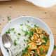 Halloumi curry with cashew nut sauce and broccoli