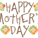 Happy Mother's Day clip art -- happy faces -- brown