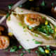 Shrimp and corn tamales with miso butter