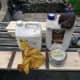 Oiling and waxing the wood with teak oil and beeswax; prior to assembly.