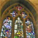 The Plague Window in Eyam Parish Church.