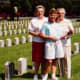 My mother, niece and aunt standing in the Confederate cemetery located on Rock Island