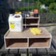 Everything ready to clean, wood dye and bees wax the units.