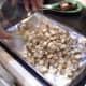 Step Ten: Pour your potato chunks onto your prepared cookie sheet