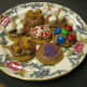 Decorated vanilla wafer cookies