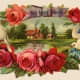 Free vintage Father's Day card: village scene with roses