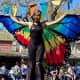 A Butterfly Stiltwalker during the Spring Street Fair