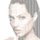 Colored ASCII image of Angelina Jolie's face.