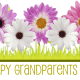 Happy Grandparents Day card and clip art with multi-colored daisies