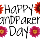 Happy Grandparents Day card and clip art with four red daisies