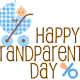 Free Happy Grandparents Day card and clipart with blue baby carriage and pacifier -- brown text