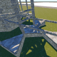 Connecting back to the main base using floor frames at half height. Full height will conflict with the existing buildups.