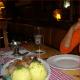 Eating German food at the Bavarian restaurant.
