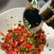 Add a tablespoon of balsamic vinegar to the mixture.