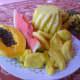 Fresh fruits: Papaya, watermelon, pineapple, bananas and jackfruits