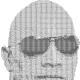 Ascii text art on a photograph of Dwayne Johnson.