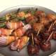 Green beans, stuffed mushrooms, BBQ meatballs, onions