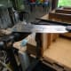 Removal of the dowel joint with a Japanese saw.