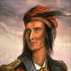 A popular image of Tecumseh he often wore a silver ring through his septum. By Benson Lossing in 1840 based on 1808 drawing.