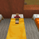 A baby villager sleeps in a bed at night, just like adult villagers.