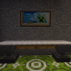 This counter top is made with two anvils, two trap doors, and white carpet!