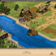 A better look of the allied town with the transport ships and the enemy forces that assault it and your forces.