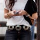 #2 hip hugger jeans and white tshirt with concho belt