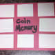 Our homemade coin memory game!