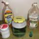The materials to make a tornado in a jar.