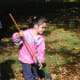 Small kids can help rake the leaves too with a child size rake.