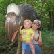 Grandma and a dinosaur