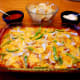 Our finished chicken fajita casserole with assorted toppings.