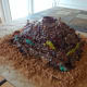 The finished volcano cake.
