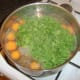 Parsley is added to beef and chestnut soup