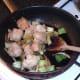 Sauteing pak choi and cauliflower in duck fat