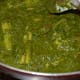 The baby corn and spinach curry is ready to serve.