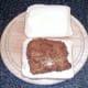 Cod fillet on bread
