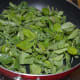 Step five: Add fenugreek leaves to the same pan. Saute till they wilt and get cooked. Collect them in a bowl.