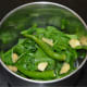 Step one: Make a puree of blanched spinach, ginger, and green chilies.