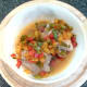 Baked and rested chicken thighs and bell peppers