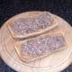 Mashed sardines are spread on bruschetta