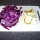 Slice the red cabbage and the pear after coring them.