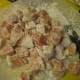 1. Cut up chicken. Pour on cornstarch and mix until all the pieces are coated.