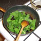 Savoy cabbage and garlic is sauteed in butter