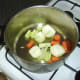 Vegetables are briefly sauteed in olive oil